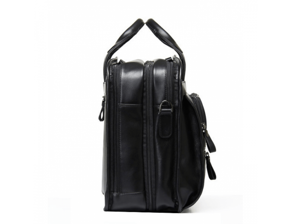 Кожаная сумка Tiding Bag B3-2020A чёрная - Фото № 3