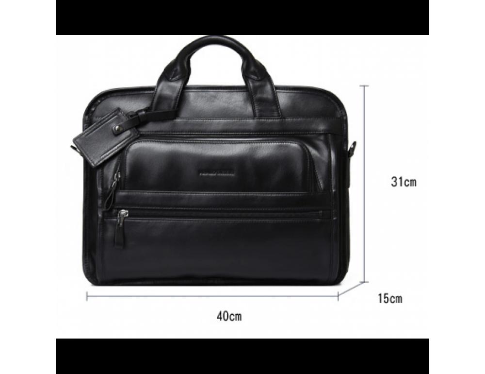 Кожаная сумка Tiding Bag B3-2020A чёрная - Фото № 6