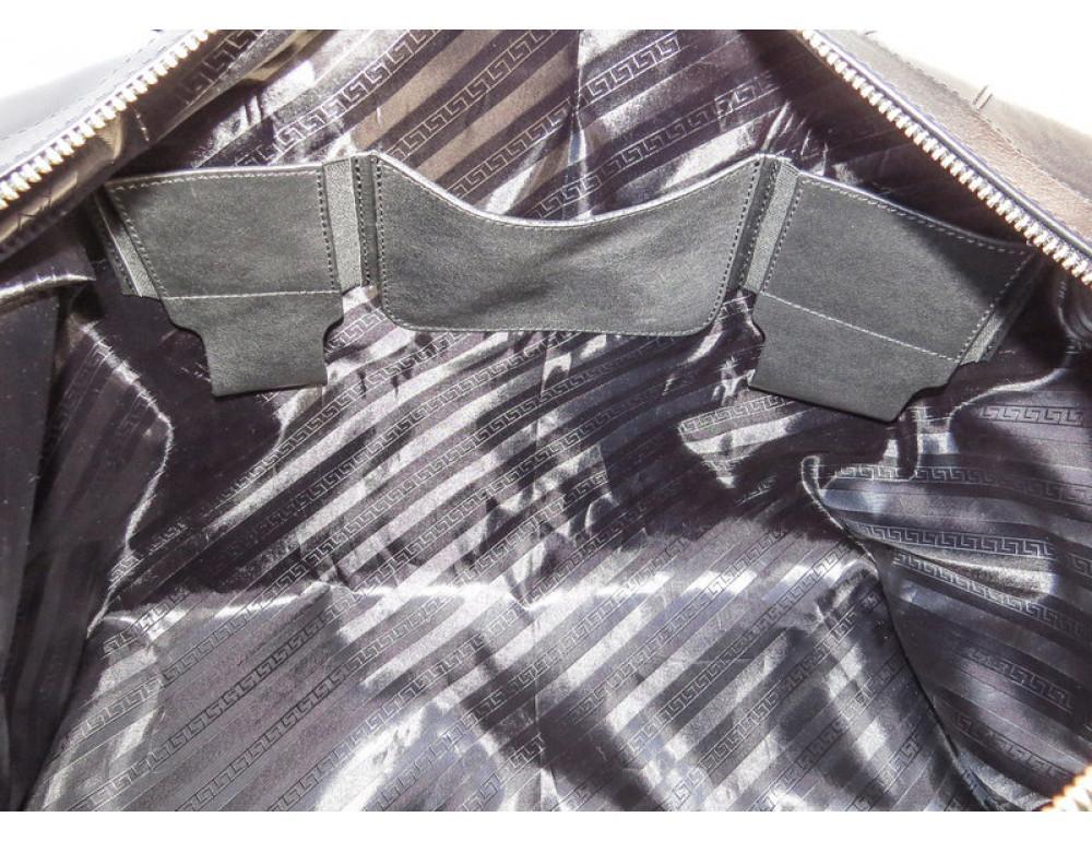 Мужская дорожная кожаная сумка Black Diamond BD29A чёрная - Фото № 8