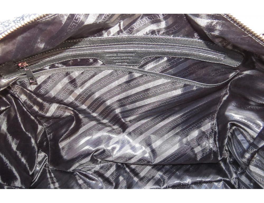 Мужская дорожная кожаная сумка Black Diamond BD29A чёрная - Фото № 9