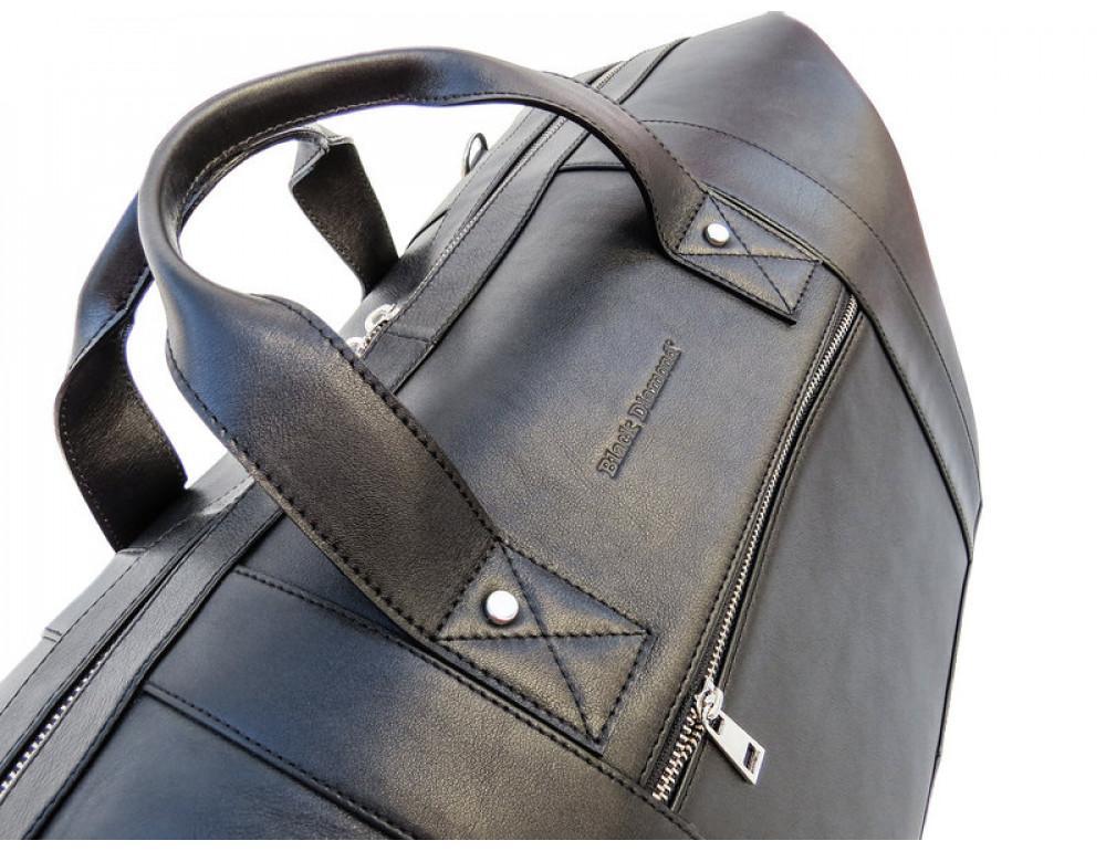 Мужская дорожная кожаная сумка (Баул) Black Diamond BD29Ator чёрная - Фото № 7