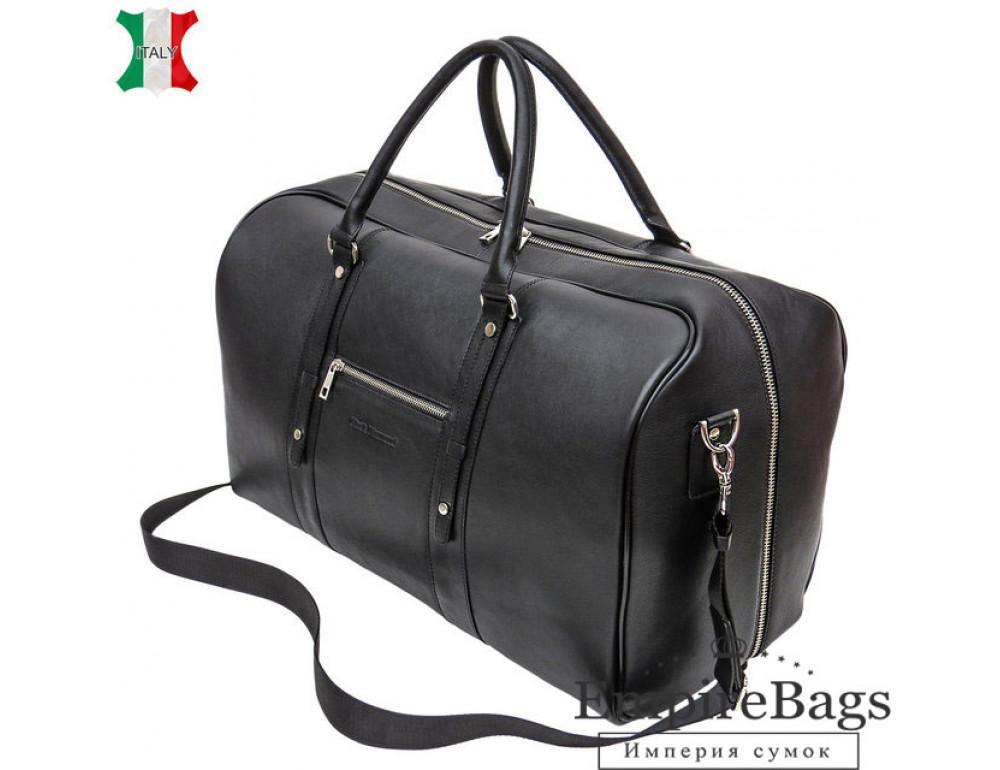 Мужская дорожная кожаная сумка Black Diamond BD31A чёрная - Фото № 1