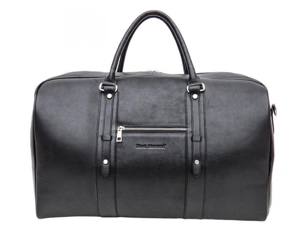 Мужская дорожная кожаная сумка Black Diamond BD31A чёрная - Фото № 2
