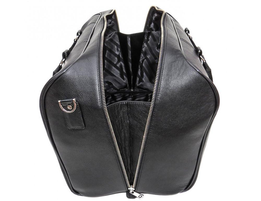 Мужская дорожная кожаная сумка Black Diamond BD31A чёрная - Фото № 6