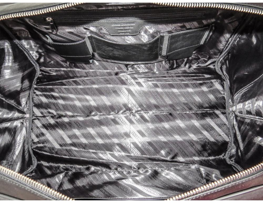 Мужская дорожная кожаная сумка Black Diamond BD31A чёрная - Фото № 8