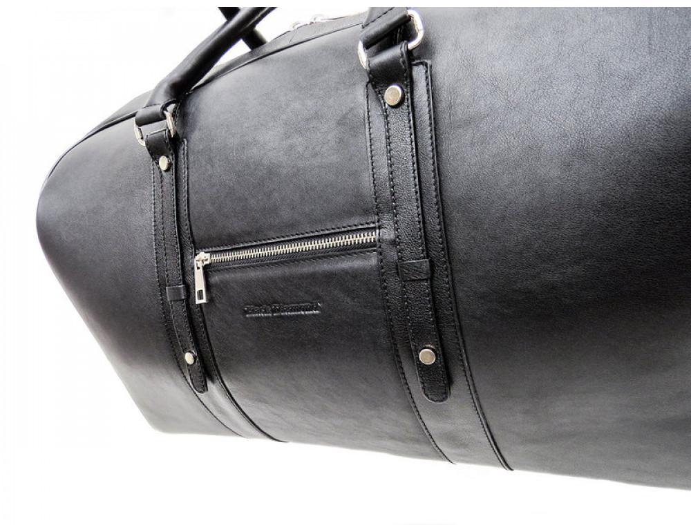 Мужская дорожная кожаная сумка Black Diamond BD31A чёрная - Фото № 7