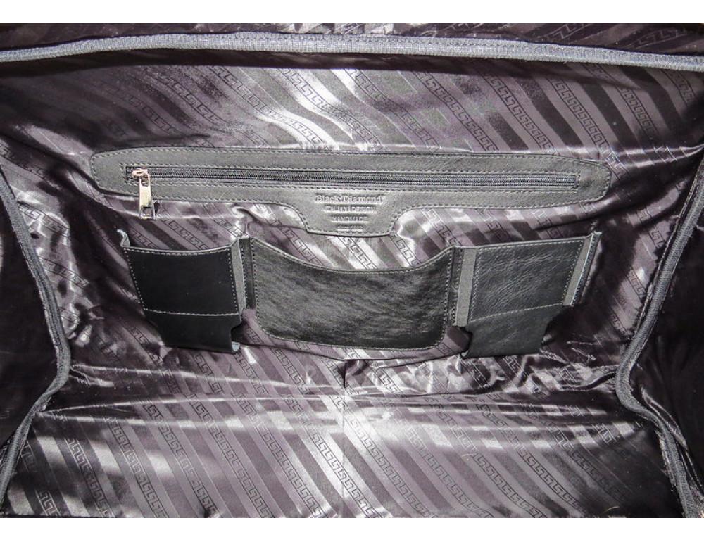Мужская дорожная кожаная сумка Black Diamond BD31A чёрная - Фото № 9