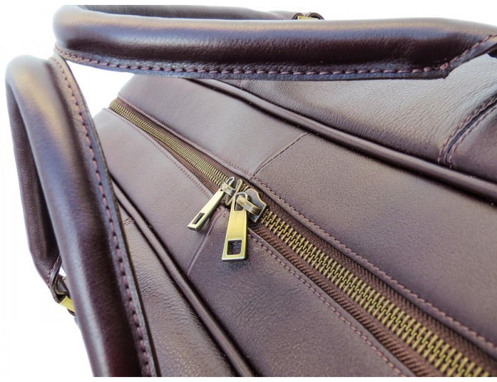 Мужская дорожная кожаная сумка  Black Diamond BD31C коричневый - Фото № 6