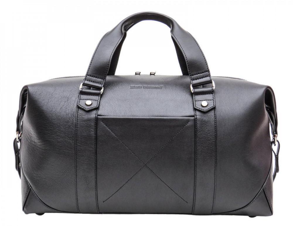 Мужская дорожная кожаная сумка Black Diamond BD32A чёрная - Фото № 2