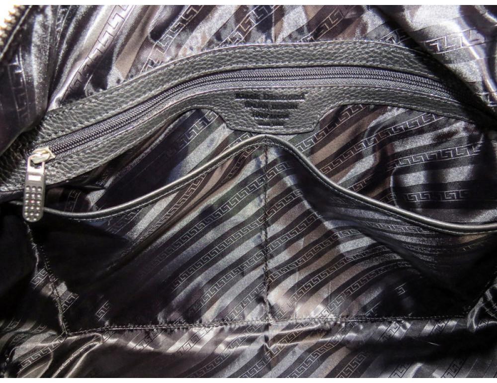 Мужская дорожная кожаная сумка Black Diamond BD32A чёрная - Фото № 7