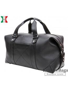 Мужская дорожная кожаная сумка (Баул) Black Diamond BD32A чёрная