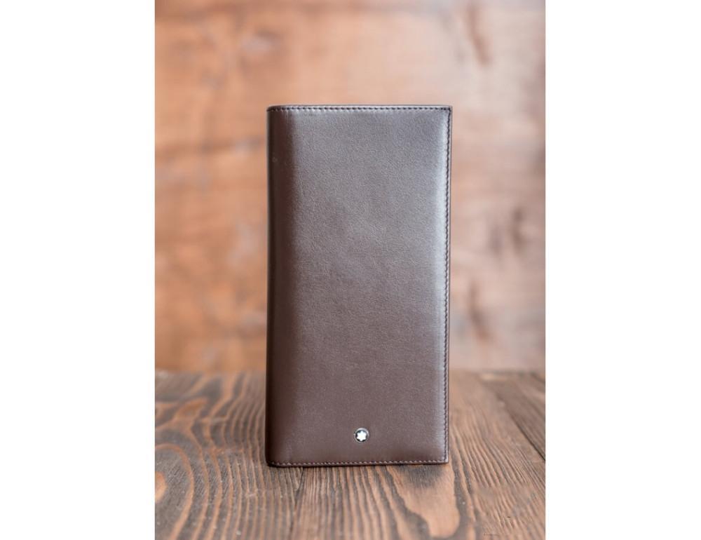 Кожаное портмоне Montblanc MOI-9403C темно-коричневый - Фото № 2