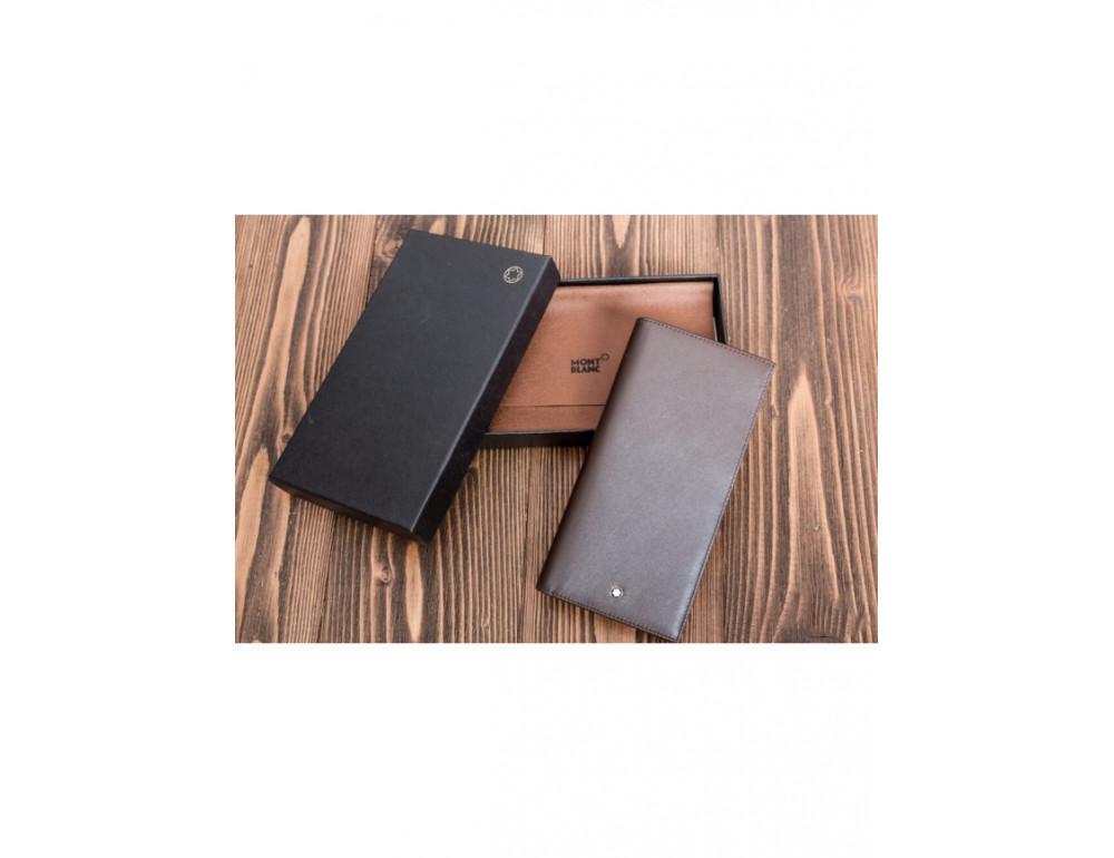 Кожаное портмоне Montblanc MOI-9403C темно-коричневый - Фото № 4