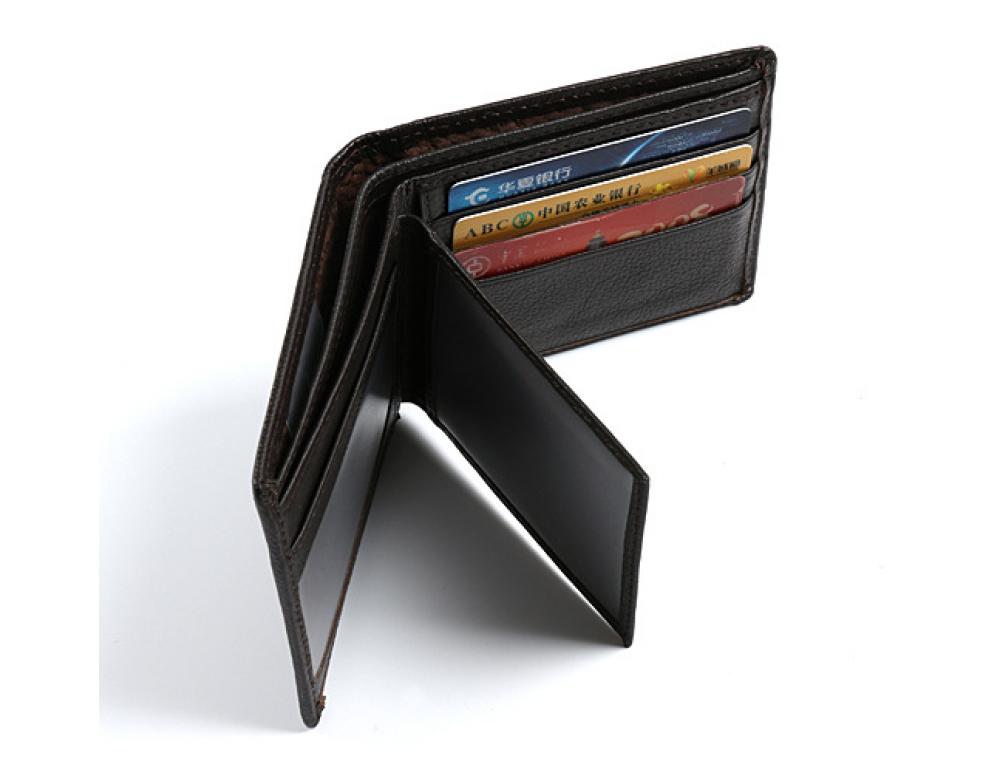 Мужской кожаный кошелёк S.J.D. R-3044C тёмно-коричневый - Фото № 2