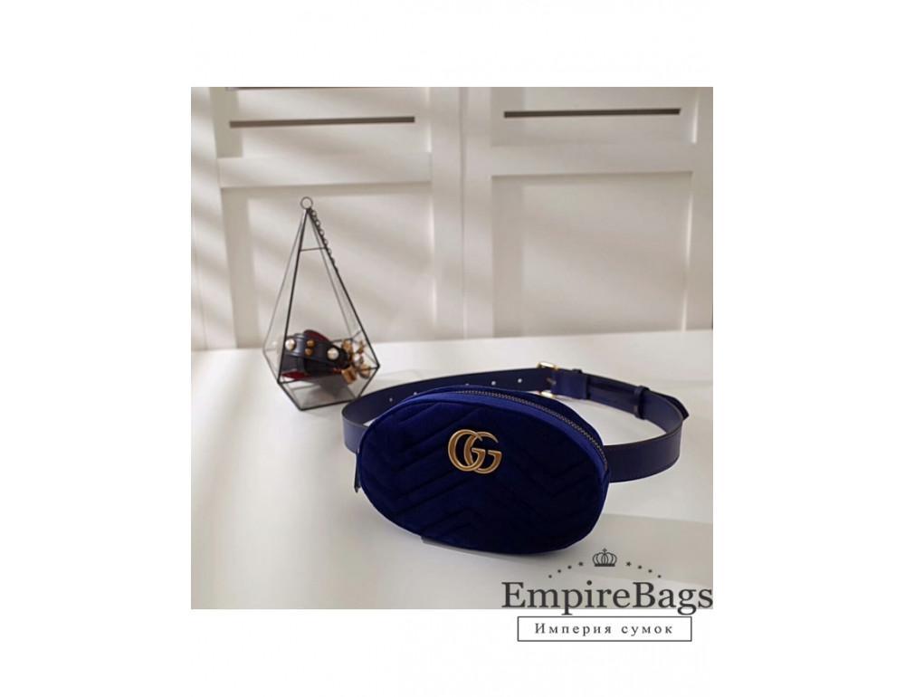 Женская кожаная бананка Gucci Marmont W118-GG476434BL тёмно-синий