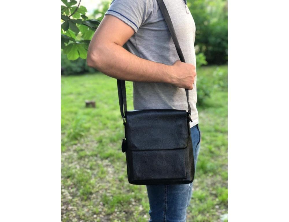 Чёрная мужская кожаная сумка через плечо TIDING BAG A25-1278A - Фото № 2