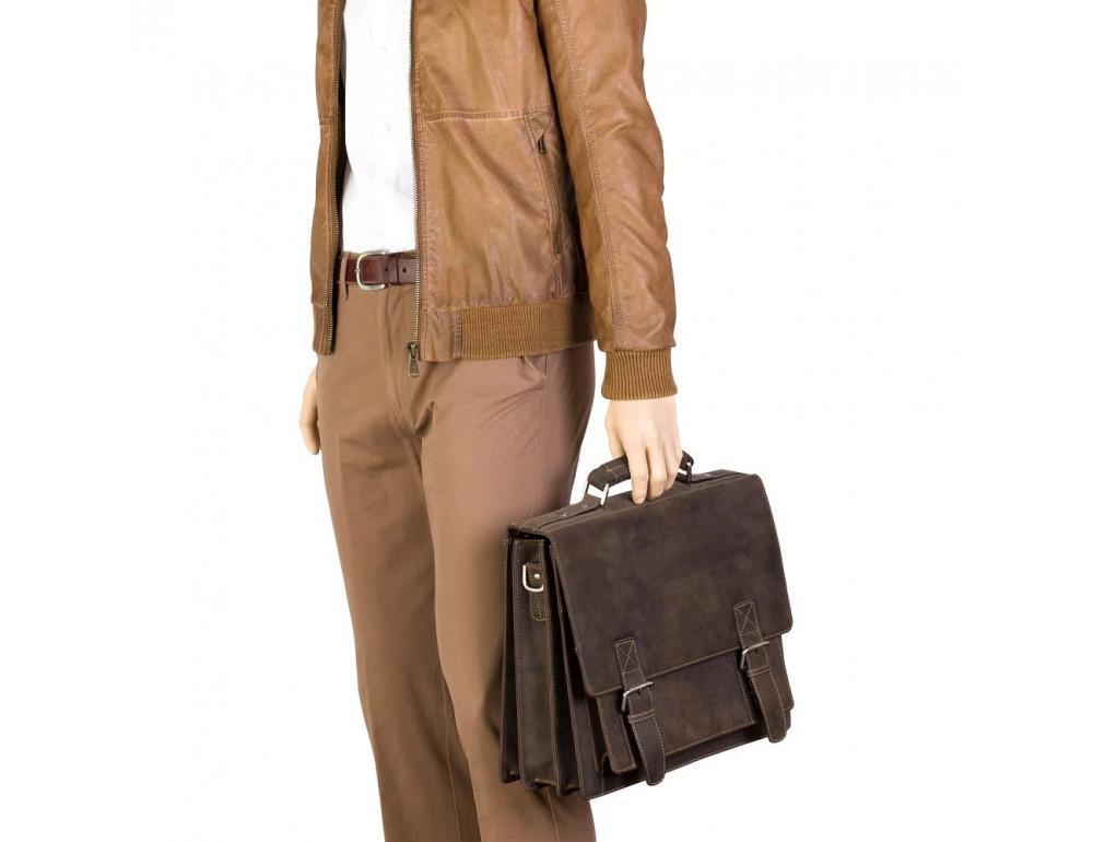 Коричневый мужской портфель из натуральной кожи Visconti 16055ХL OIL BR - Фото № 2