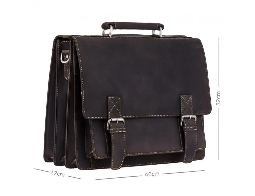 Коричневый мужской портфель из натуральной кожи Visconti 16055ХL OIL BR - Фото № 3