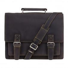 Коричневый мужской портфель из натуральной кожи Visconti 16055ХL OIL BR