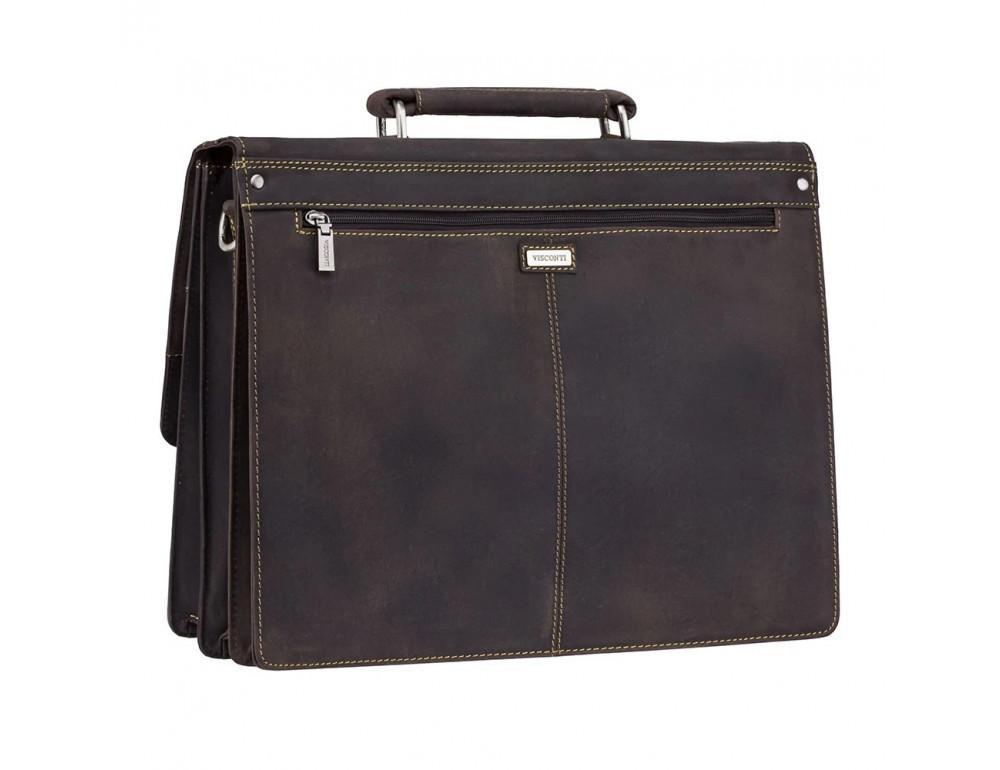 Коричневый мужской портфель из натуральной кожи Visconti 16055ХL OIL BR - Фото № 4