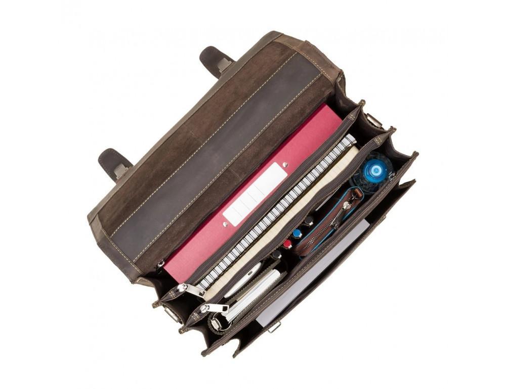 Коричневый мужской портфель из натуральной кожи Visconti 16055ХL OIL BR - Фото № 7