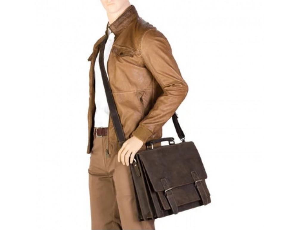 Коричневый мужской портфель из натуральной кожи Visconti 16055ХL OIL BR - Фото № 9