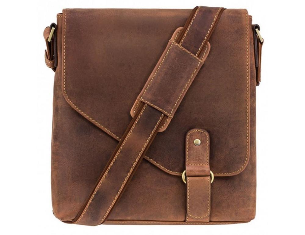Коричневая кожаная сумка на плечо мужская Visconti 16071 OIL TAN Aspin - Фото № 1