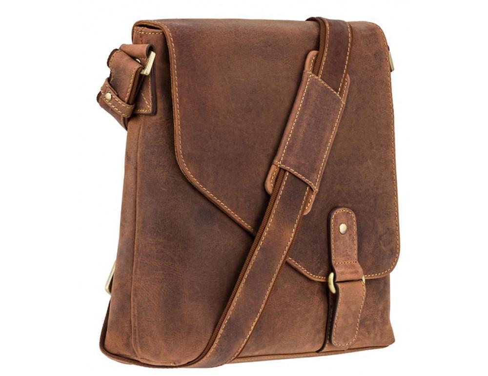 Коричневая кожаная сумка на плечо мужская Visconti 16071 OIL TAN Aspin - Фото № 2