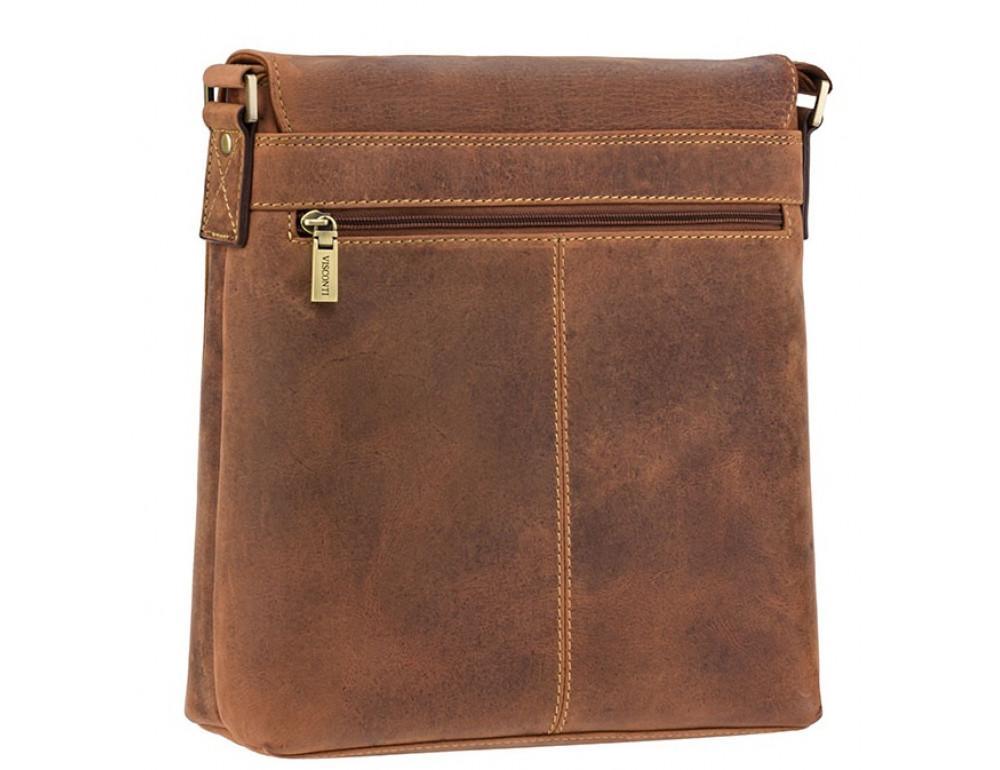 Коричневая кожаная сумка на плечо мужская Visconti 16071 OIL TAN Aspin - Фото № 4