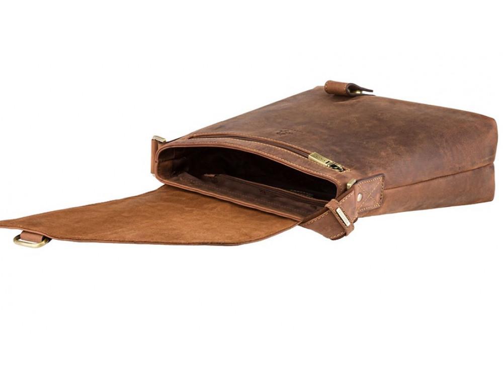 Коричневая кожаная сумка на плечо мужская Visconti 16071 OIL TAN Aspin - Фото № 5
