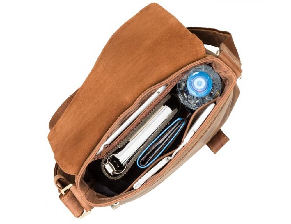 Коричневая кожаная сумка на плечо мужская Visconti 16071 OIL TAN Aspin - Фото № 6