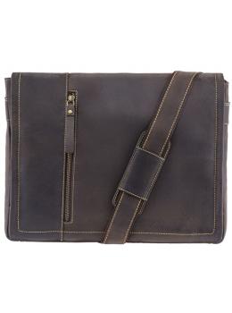 Тёмно-коричневая мужская сумка через плечо 16072 OIL BRN