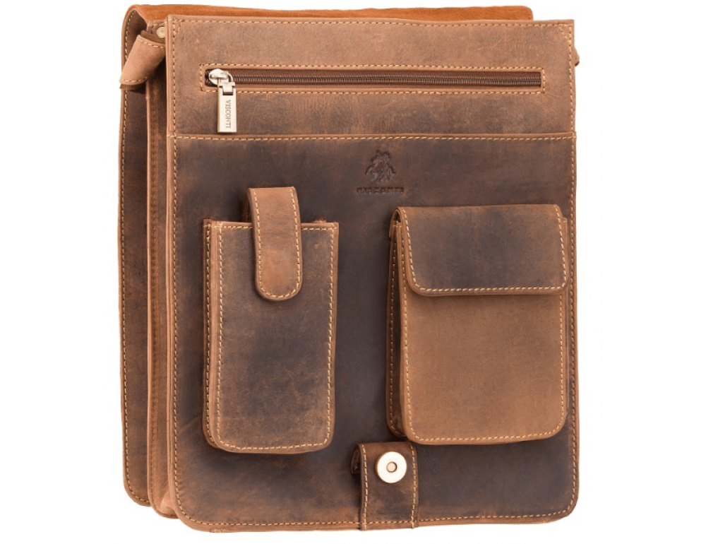Коричневая сумка через плечо мужская Visconti 18410 OIL TAN Jasper - Фото № 7