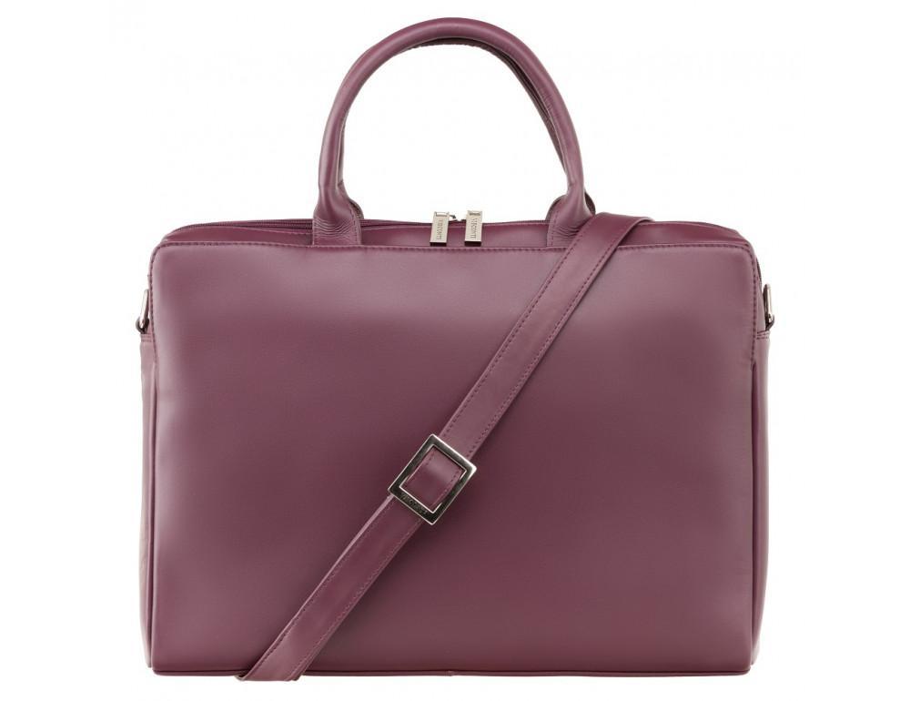 Сливовая кожаная сумка под ноутбук женская Visconti 18427 PLUM - Фото № 1