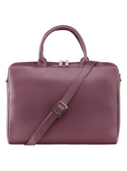 Сливова шкіряна сумка під ноутбук жіноча Visconti 18427 PLUM