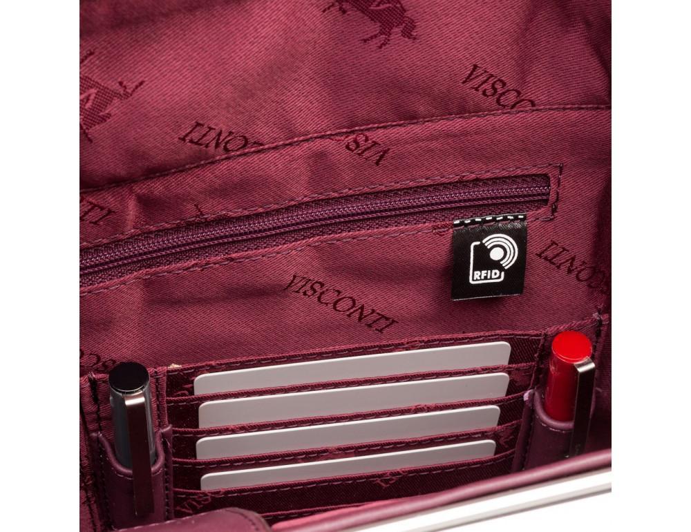 Сливовая кожаная сумка под ноутбук женская Visconti 18427 PLUM - Фото № 7