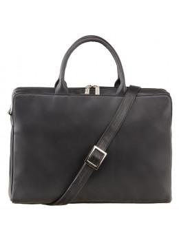 Чёрная кожаная сумка под ноутбук женская Visconti 18427 BLK Ollie