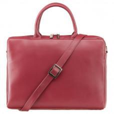Красная кожаная сумка под ноутбук женская Visconti 18427 RED