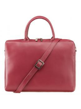 Червона шкіряна сумка під ноутбук жіноча Visconti 18427 RED