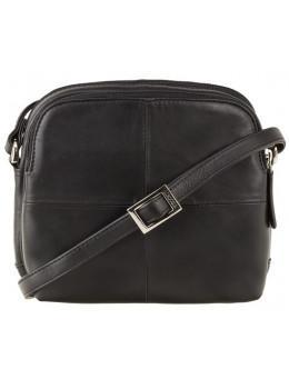 Чёрная кожаная женская сумка Visconti 18939 BLK Holly