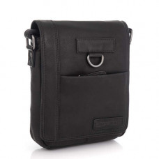 Чёрная кожаная сумка мессенджер HILL BURRY - VC10035HB Black