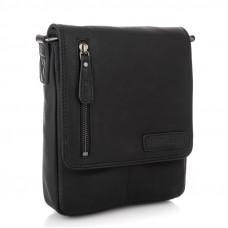Чёрная кожаная сумка через плечо с клапаном HILL BURRY - VC10041HB Black