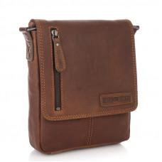 Коричневая кожаная сумка через плечо HILL BURRY - VC10041HB Brown