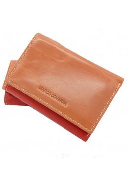 Персиковый женский кошелёк из комбинированной кожи Marco Coverna 2-2068-12
