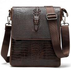 Мужская сумка через плечо из кожи под крокодила Vintage 20039