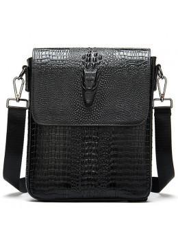 Чёрная кожаная сумка под крокодила Vintage 20039A