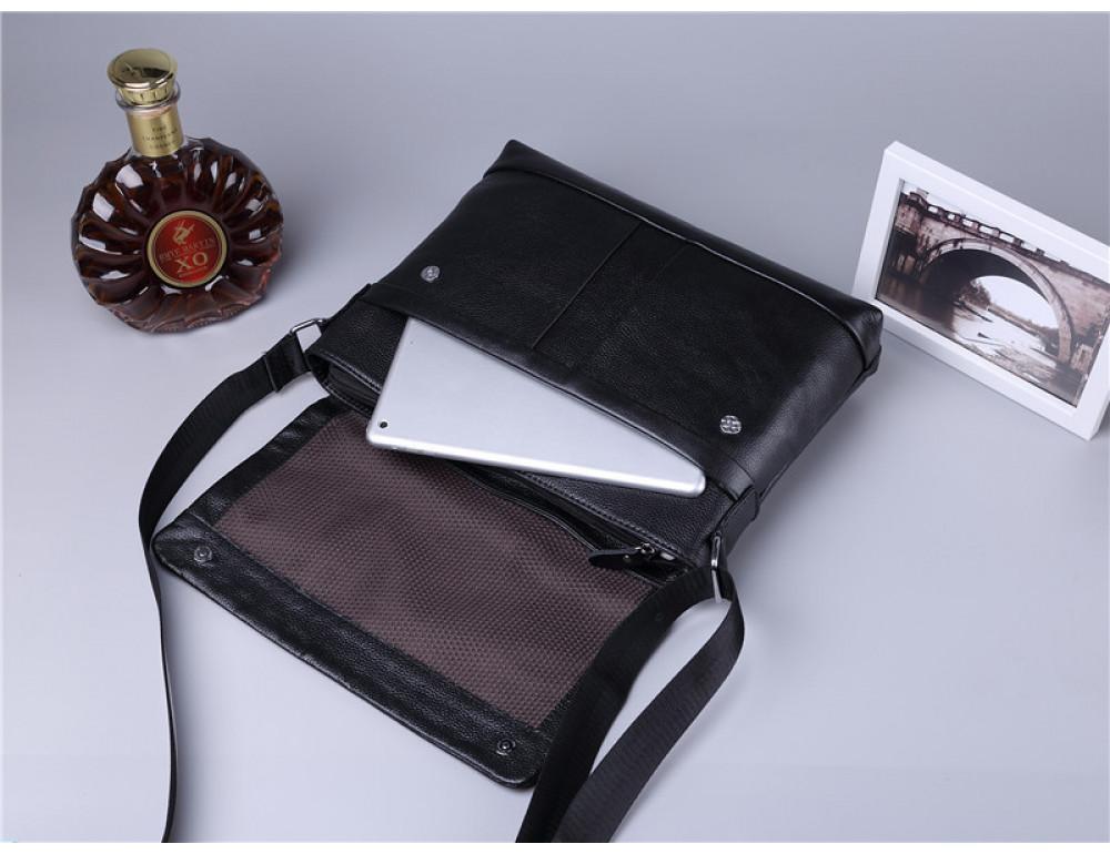 Черная горизонтальная сумка формата а-4 Tiding Bag 2121A - Фото № 4