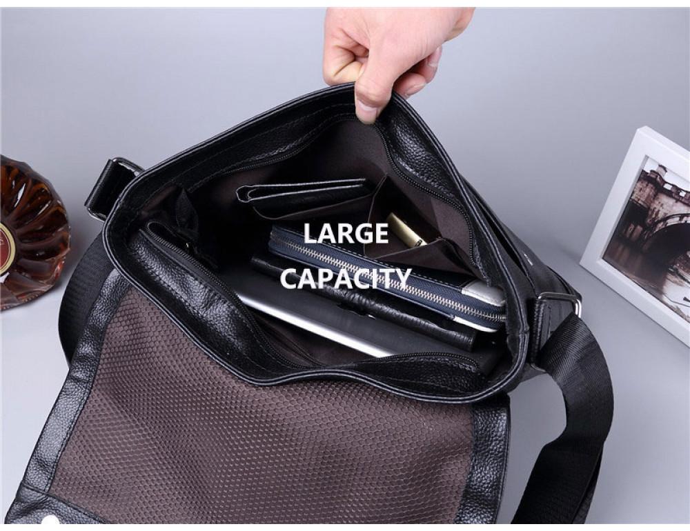 Черная горизонтальная сумка формата а-4 Tiding Bag 2121A - Фото № 6