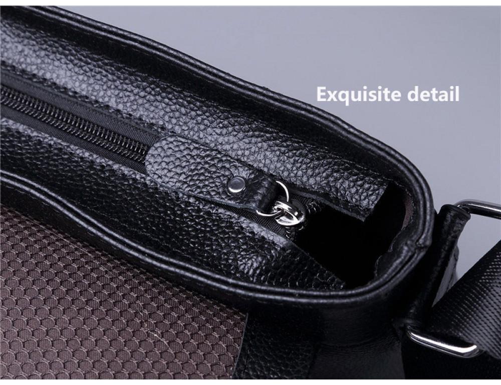 Черная горизонтальная сумка формата а-4 Tiding Bag 2121A - Фото № 7