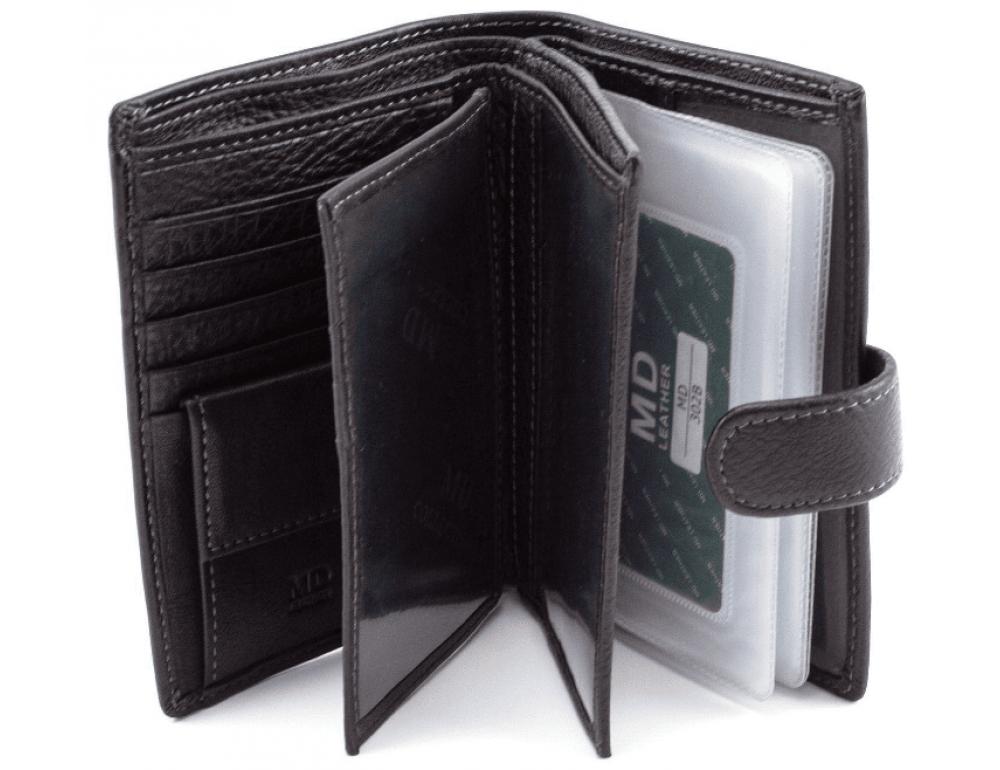 Чёрный кожаный портмоне под документы MD Leather 22-302b - Фото № 2